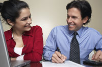 Business man and woman working in office