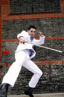 Popular : Businessman showing off his martial art skill