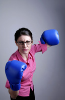 Popular : Businesswoman with blue boxing gloves