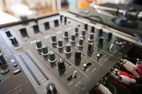 Close-up of dj mixer