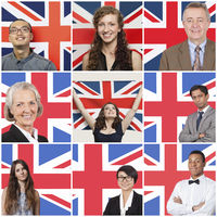 Collage of business people standing against british flag