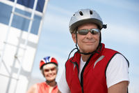 Couple on bicycle ride portrait