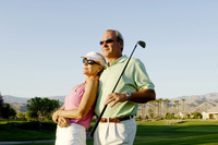 Couple posing in the golf course
