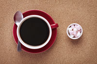 Cup of coffee with marshmallows