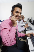 Customer service rep in call center