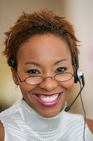Customer service representative with headset portrait