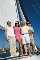 Family on sailboat  portrait