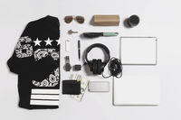 Flat lay of men clothing and accessories