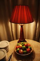 Fruits on coffee table in a hotel room