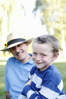 Popular : Grandfather and grandson in the park