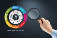 Hand with magnifying glass on online marketing strategy concept