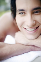 Popular : Man smiling while thinking