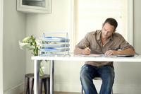Man working at his desk in a home office