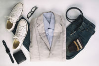Men s clothing and accessories on white background