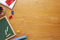 School supplies on desk background with copy space
