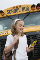 Student text messaging by school bus