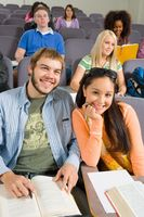 Students in lecture hall  portrait