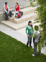 Students sitting and standing on school grounds outdoors elevated view