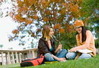 Students studying on campus