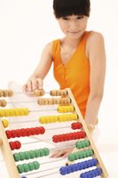 Woman playing with abacus
