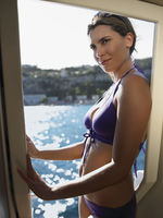 Woman wearing bikini on boat