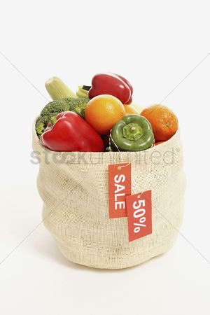 Shopping background : A bag of fruits and vegetables