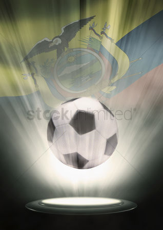 Hexagon : A soccer ball with ecuador flag backdrop
