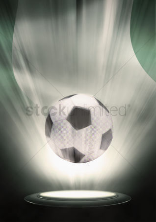 Nationality : A soccer ball with nigeria flag backdrop