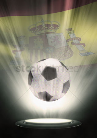 Nationality : A soccer ball with spain flag backdrop
