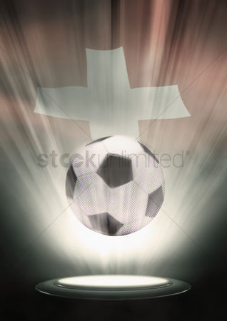 Nationality : A soccer ball with switzerland flag backdrop
