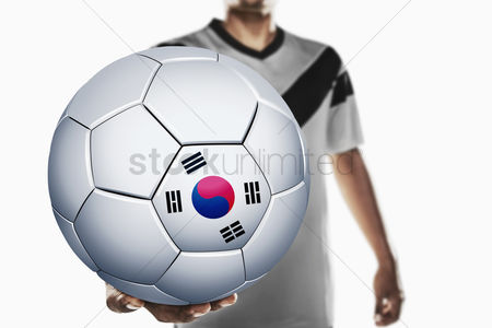 Korea republic : A soccer player holding korea soccer ball