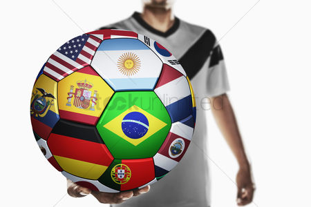 Korea republic : A soccer player holding world soccer ball