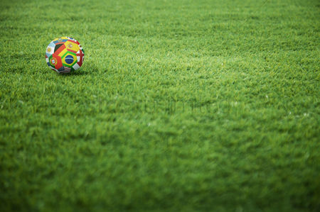 Pitch : A world flags soccer ball on the playing field