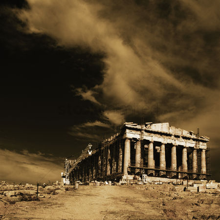 Moody : Ancient temple under renovation  parthenon  acropolis  athens  greece