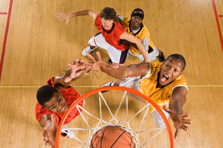 Sports : Basketball match view from above rim
