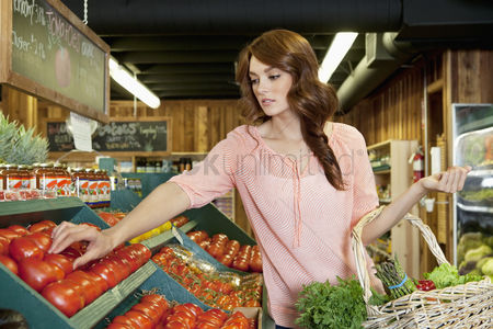 Variety : Beautiful brunette woman shopping for tomatoes in supermarket