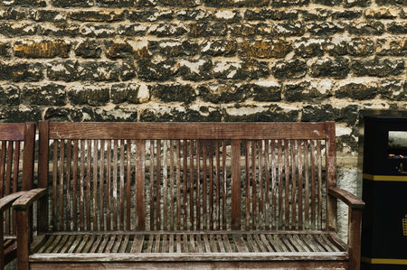 Weathered : Benches in front of a weathered wall  oxford  oxfordshire  england