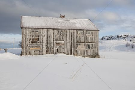 Remote : Boarded up house in fredvang moskensoy loftofen norway