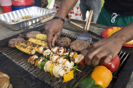 Sausage : Burgers and kebabs on barbecue grill