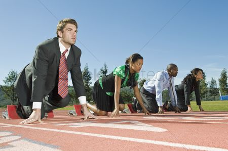Business suit : Business people at starting blocks