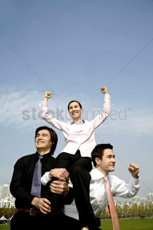 Celebrating : Business people celebrating their achievement