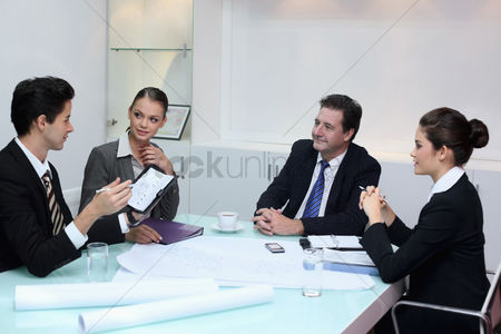Satisfaction : Business people in discussion at conference table