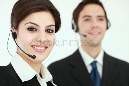 Assistance : Business people with telephone headset