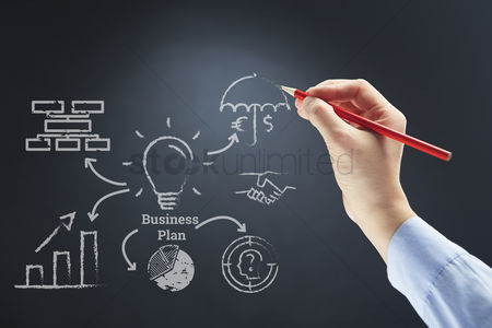 Sales person : Business plan drawn on board concept