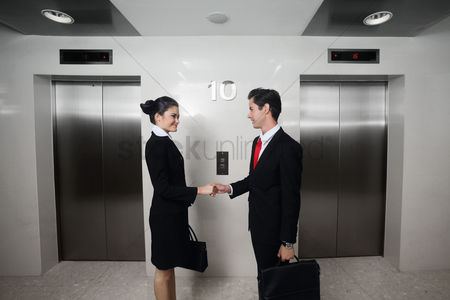 Two people : Businessman and businesswoman shaking hands