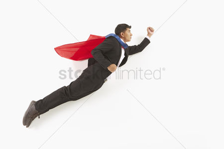 Masculinity : Businessman posing on the floor  flying