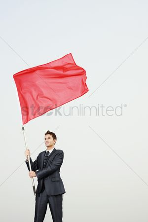 Respect : Businessman waving a red flag