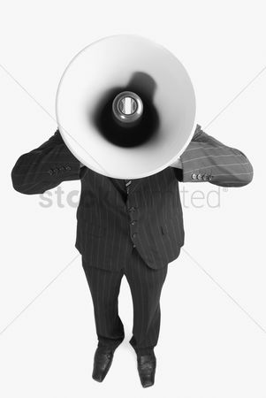 Corporation : Businessman with a megaphone