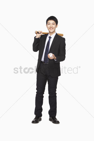 Pitch : Businessman with bat and baseball