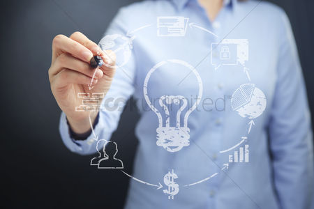 Thought : Businesswoman holding a marker pen with business idea concept
